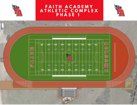 Proposed rendering of Faith Academy's Fields of Faith to be built by Hellas Construction, which includes Hellas Matrix® Helix Turf and epiQ Tracks® track system.